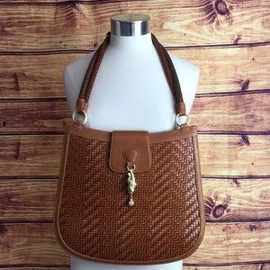 Kieselstein-Cord Tan Woven Leather w/Gold Frog Bag